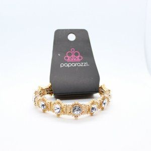 Paparazzi Gold Tone Crystal Stretch Bracelet